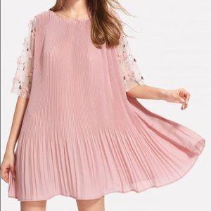Flower Sleeve Pink Dress